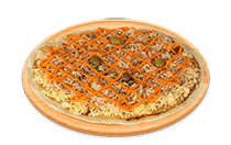 Pizza de Peito de Peru com Cheddar